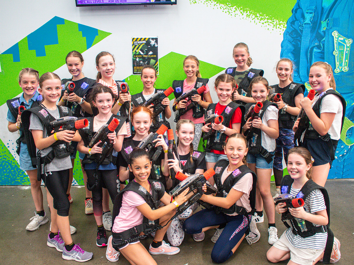 Group of girls outside of laser tag
